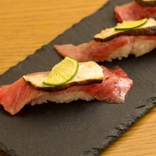 遠州夢咲牛と松茸の握り寿司