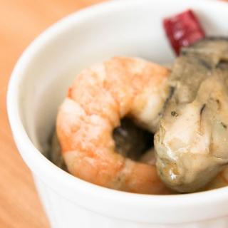 牡蠣と海老のオイル漬け